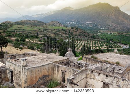 Ruins of Lower monastery at Preveli, Crete
