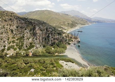 Landscape of Preveli Beach with sea and river, Crete, Greece