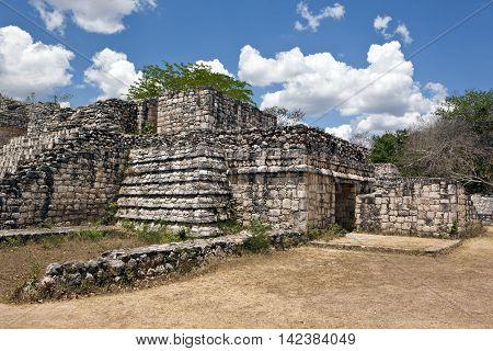 Ancient ruins in Maya city of Ek Balam, Mexico