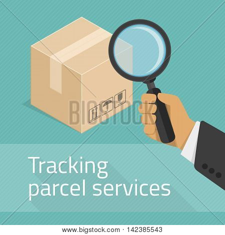 Package tracking flat illustration. Tracking parcel services concept. Package status place tracking online order shipping business concept web vector illustration.
