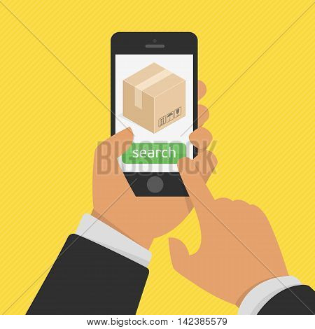 Package tracking flat illustration. Order tracking app on smartphone screen concept. Hand holding mobile smart phone with app delivery tracking.