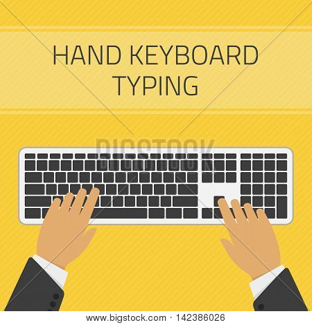 Vector illustration of hand keyboard typing vector. Technology design over yellow background. Hand typing text on keyboard. Concept of writing a blog, blogging.