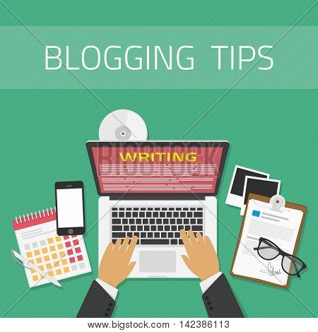 Writing an article or mesage for blog on computer concept. Vector illustration of writing a blog, blogging. Copywriting or typing text. Flat design modern vector illustration concept. poster