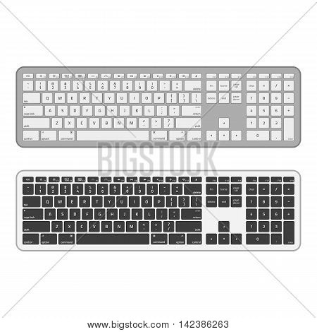 Computer keyboards. Modern, long keyboard in white and black color. Technology design. Realistic keyboard with alphabet.