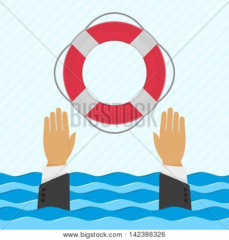 Vector background with hand and lifebuoy in flat style. Helping business survive or technical support concept. Online help.