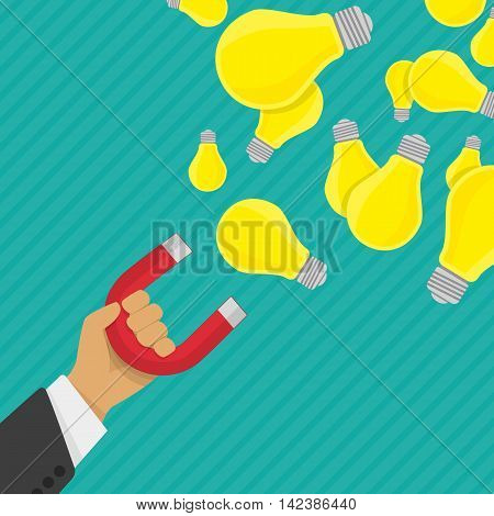 Vector illustration of Businessman holding magnet attracting light bulbs idea. Business concept in flat style. Magnet collecting light bulb. Concept of idea.