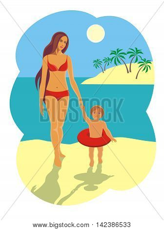 mother and child are walking along the beach after bathing