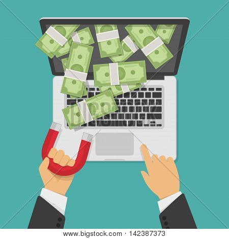 Concept of attracting investments. Vector illustration of money business success dollar magnet. Magnet in businessman hand pulls money out laptop. Laptop with money, web or IT business concept.
