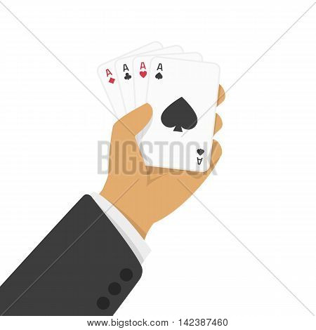 Vector illustration of four aces poker hand. Hand holding four aces on white background. Concept of Gambling entertainment business or decorative poster. Hand with ace playing cards fan.