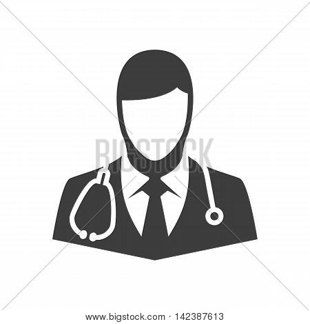 Doctor vector icon. Illustration of doctor isolated on white background in flat style. Icon of man with stethoscope around his neck. Icon of medical worker.