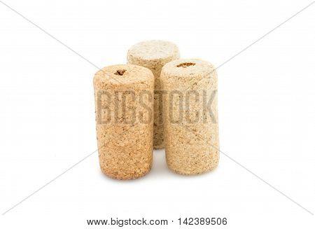 Wine corks  vintage, stopper on white background