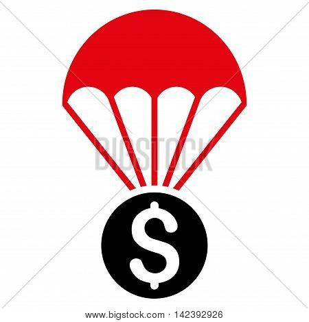 Financial Parachute icon. Vector style is bicolor flat iconic symbol with rounded angles, intensive red and black colors, white background.