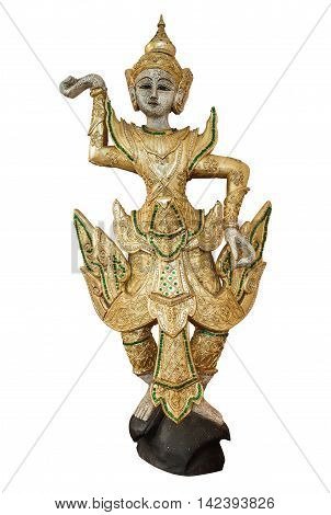 The traditional dancing doll in golden dress and headdress as isolated picture