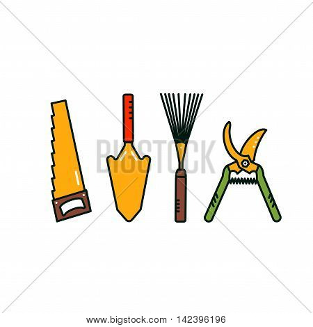 Gardening tools. Isolated garden equipment on white background. Vector spade, saw, secateurs, lawn rake.