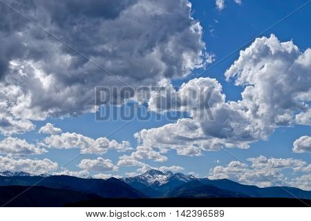 Clouds over mountains. North Cascades National Park Winthrop Washington State USA.