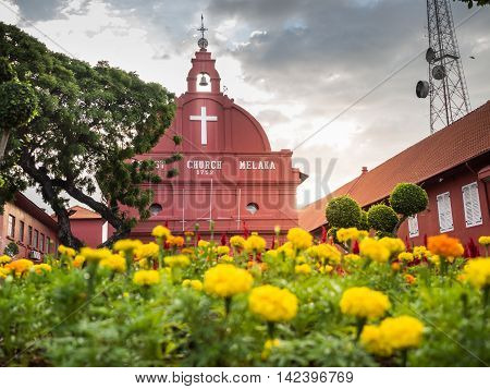 Malacca, Malaysia - Feb 29: Malacca Christ Church At Dutch Squar