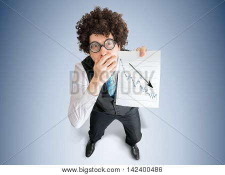 Disappointed Accountant Is Showing Graph Of Bad Investment And L