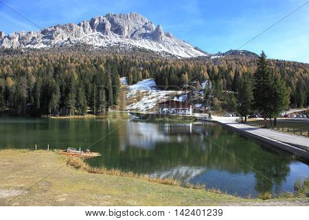 DOLOMITES, ITALY - NOV 2, 2014: Alpine scenery at Lake Misurina on Nov 2, 2014 in Dolomites, Italy. Misurina is a landmark ski resort on Dolomites Alps.