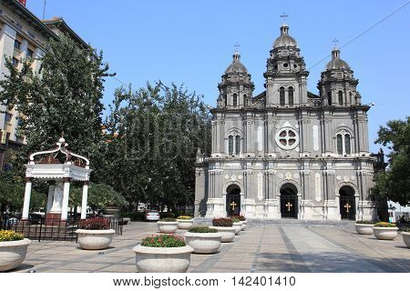 BEIJING - JULY 25, 2014 : Cathedral of Wangfujing on July 25, 2014 in Beijing, China. It is a landmark western church in Beijing.