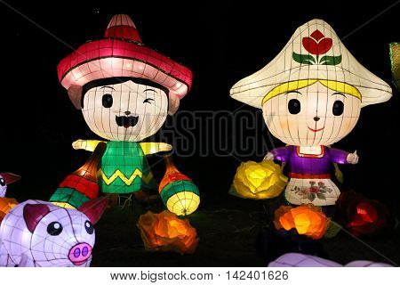 HONG KONG, CHINA - SEPT 18, 2014: Chinese lanterns light up to celebrate the mid-autumn festival, also known as moon festival, on Sept 18, 2014 in Hong Kong, China.