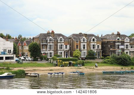 LONDON, ENGLAND - JUNE 14, 2014: River Thames and town at Surrey on June 14, 2014 in London, England.