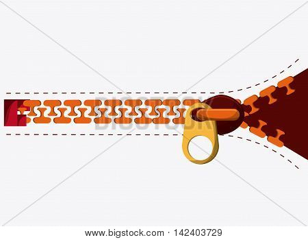 Zip zipper orange one cloth metal teeth icon. Isolated and flat illustration.