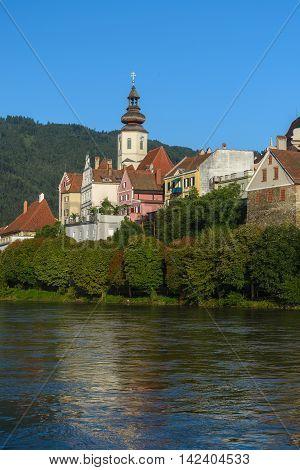 Old architecture of Frohnleiten-small city above Mur river, Stiria, Austria.