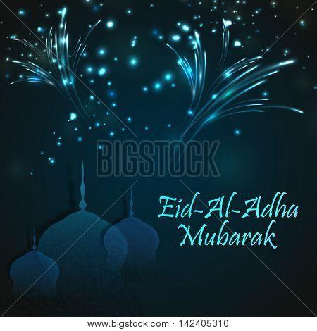 Creative paper cutout of Mosque on sparkling, fireworks background for Muslim Community, Festival of Sacrifice, Eid-Al-Adha Mubarak.