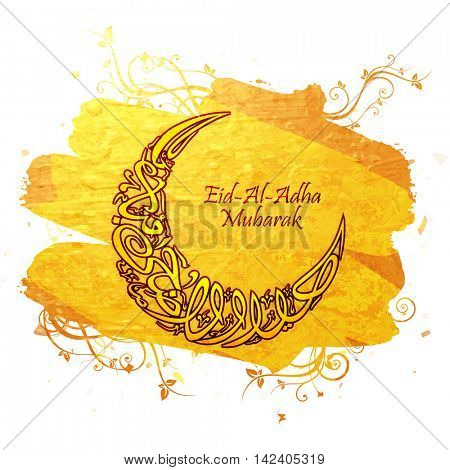 Arabic Islamic Calligraphy Text Eid-Al-Adha Mubarak in Crescent Moon shape on paint stroke, floral background for Muslim Community, Festival of Sacrifice Celebration.