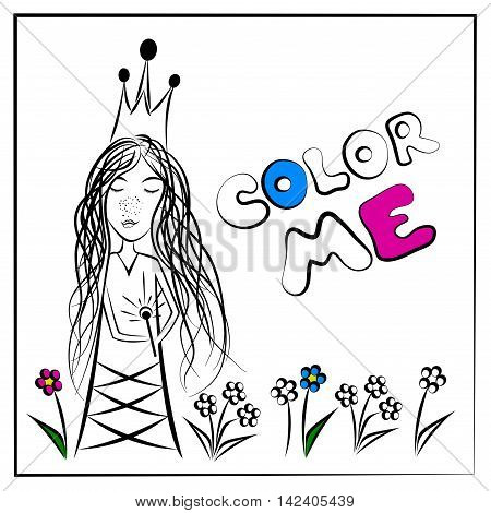Color Me Fairy Princess Making A Magical Wish, vector
