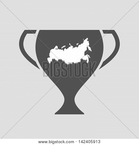 Isolated Award Cup Icon With  A Map Of Russia