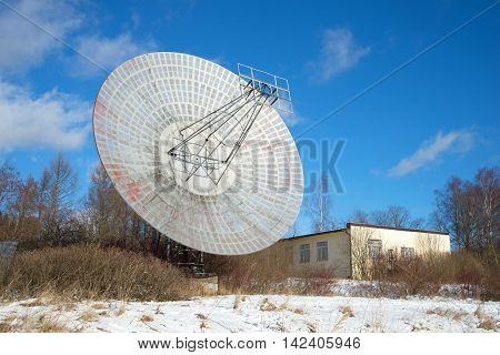 ST. PETERSBURG RUSSIA - FEBRUARY 17 2016: The radio telescope at the building of the astrophysical laboratory of the sunny february day. Pulkovo astronomical observatory. Historical landmark