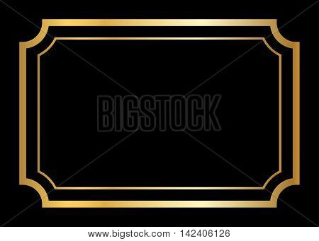 Gold frame. Beautiful simple golden design. Vintage style decorative border isolated on black background. Deco elegant art object. Empty copy space for decoration photo banner. Vector illustration.