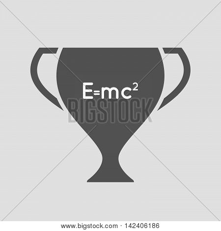 Isolated Award Cup Icon With The Theory Of Relativity Formula
