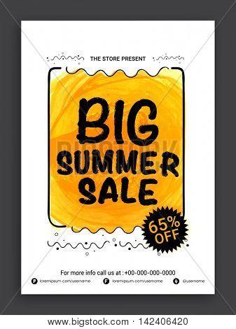 Big Summer Sale Flyer, Sale Banner, Sale Poster, Sale Pamphlet, Discount Upto 65% Off, Vector Sale Illustration.