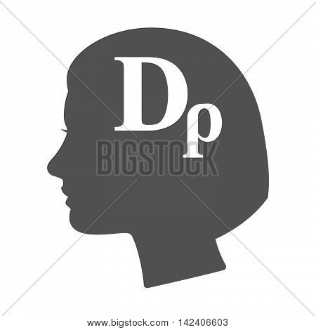 Isolated Female Head Silhouette Icon With A Drachma Currency Sign