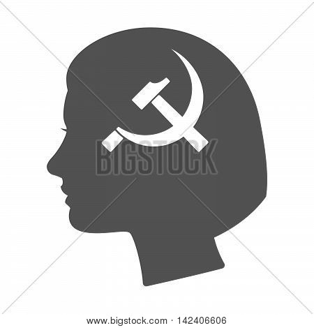 Isolated Female Head Silhouette Icon With  The Communist Symbol