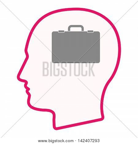 Isolated Male Head Silhouette Icon With  A Briefcase
