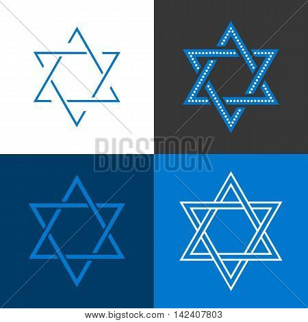 Star of David, Star of Israel sign and symbol, flat design vector