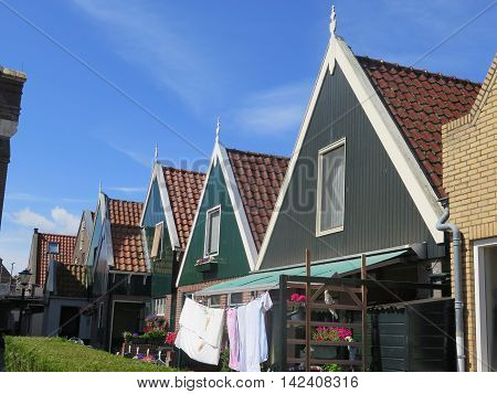Typical house of the fishing village Urk Flevoland The Netherlands