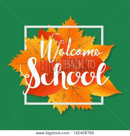 Autumn season welcome back school vector photo bigstock autumn season welcome back to school painted lettering hand drawn label and banner template pronofoot35fo Gallery