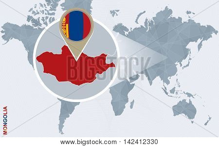 Abstract Blue World Map With Magnified Mongolia.