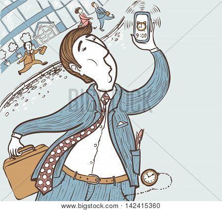 Running businessman late for deadline hand-drawing vector illustration color version