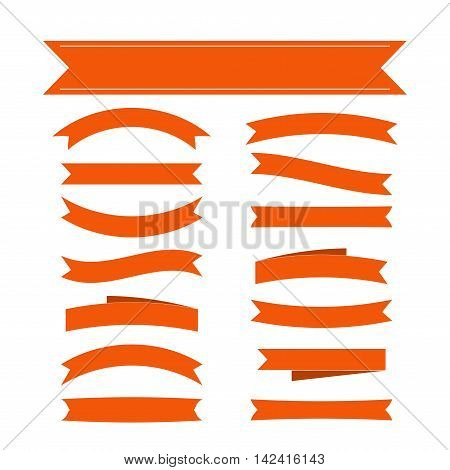 Orange ribbon banners set. Beautiful blank decoration graphic. Old vintage style Flat design. Premium decorative elements isolated on white background. Template collection labels Vector illustration