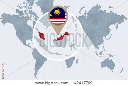 Abstract Blue World Map With Magnified Malaysia.