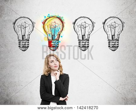 Woman in suit standing near concrete wall with light bulb doodles and thinking. One out of four lbulbs is lit. Concept of high probability