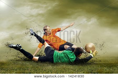 Shoot of football player on the outdoors field poster