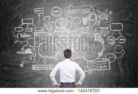 Man standing with his back to camera looking at blackboard with abstract sketches and schemes thinking about startup development. Concept of successful business