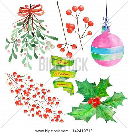 Collection (set) with isolated floral Christmas elements of decoration (holly tree, toys, Mistletoe, hawthorn, red berries) painted in watercolor on a white background