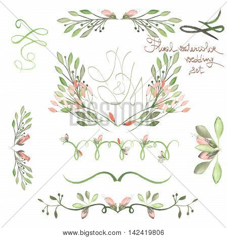 Set with frame borders, floral decorative ornaments with watercolor flowers, leaves and branches painted in watercolor on a white background for greeting card, decoration postcard or wedding invitation